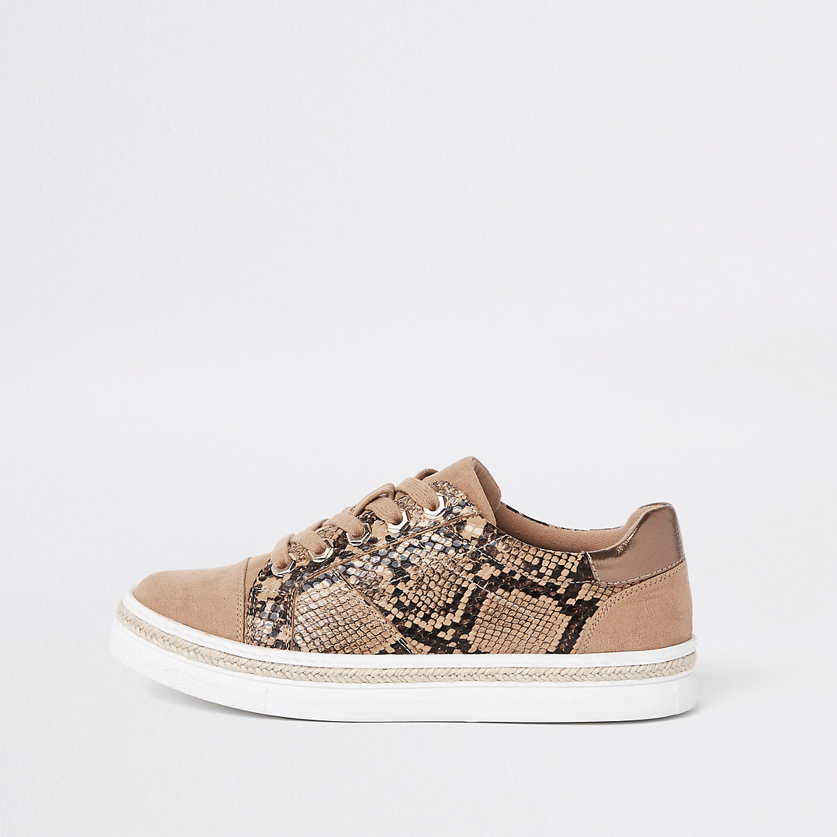 Brown snake print lace-up sneakers