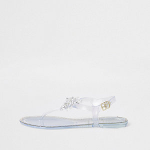 Witte jelly sandalen met bloem