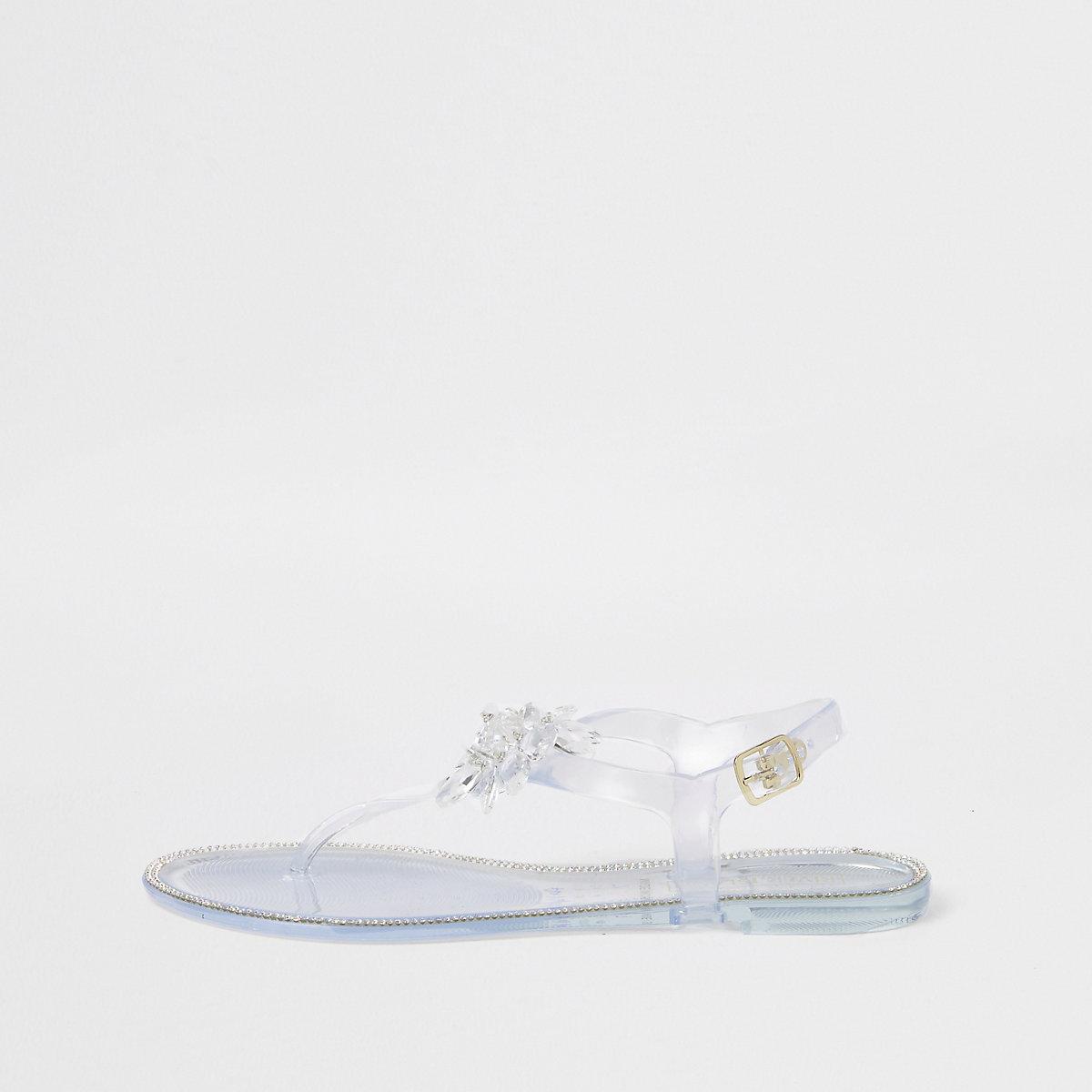 White flower jelly sandals