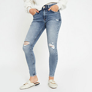 Petite – Amelie – Blaue Skinny Jeans im Used-Look