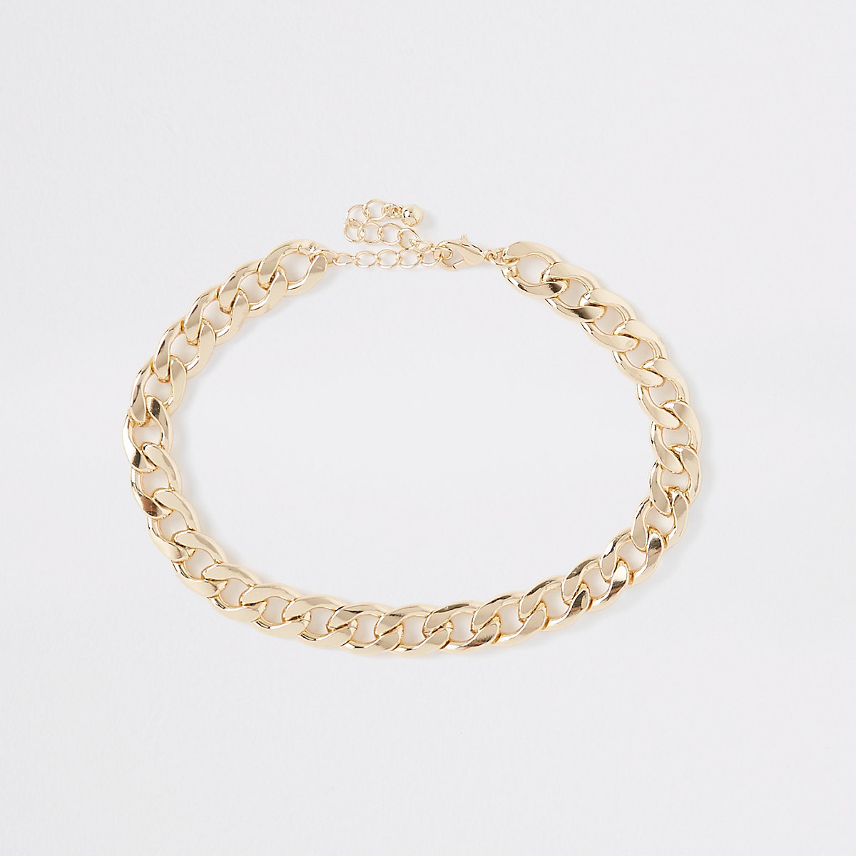 Gold color chunky curb chain choker