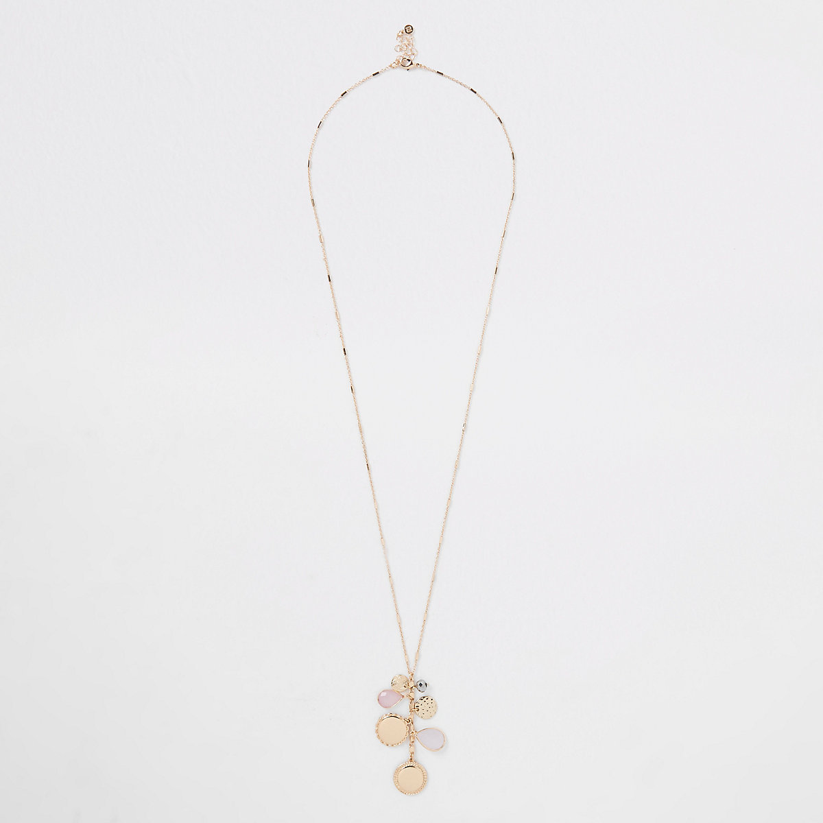 Rose gold cluster jewel pendant long necklace