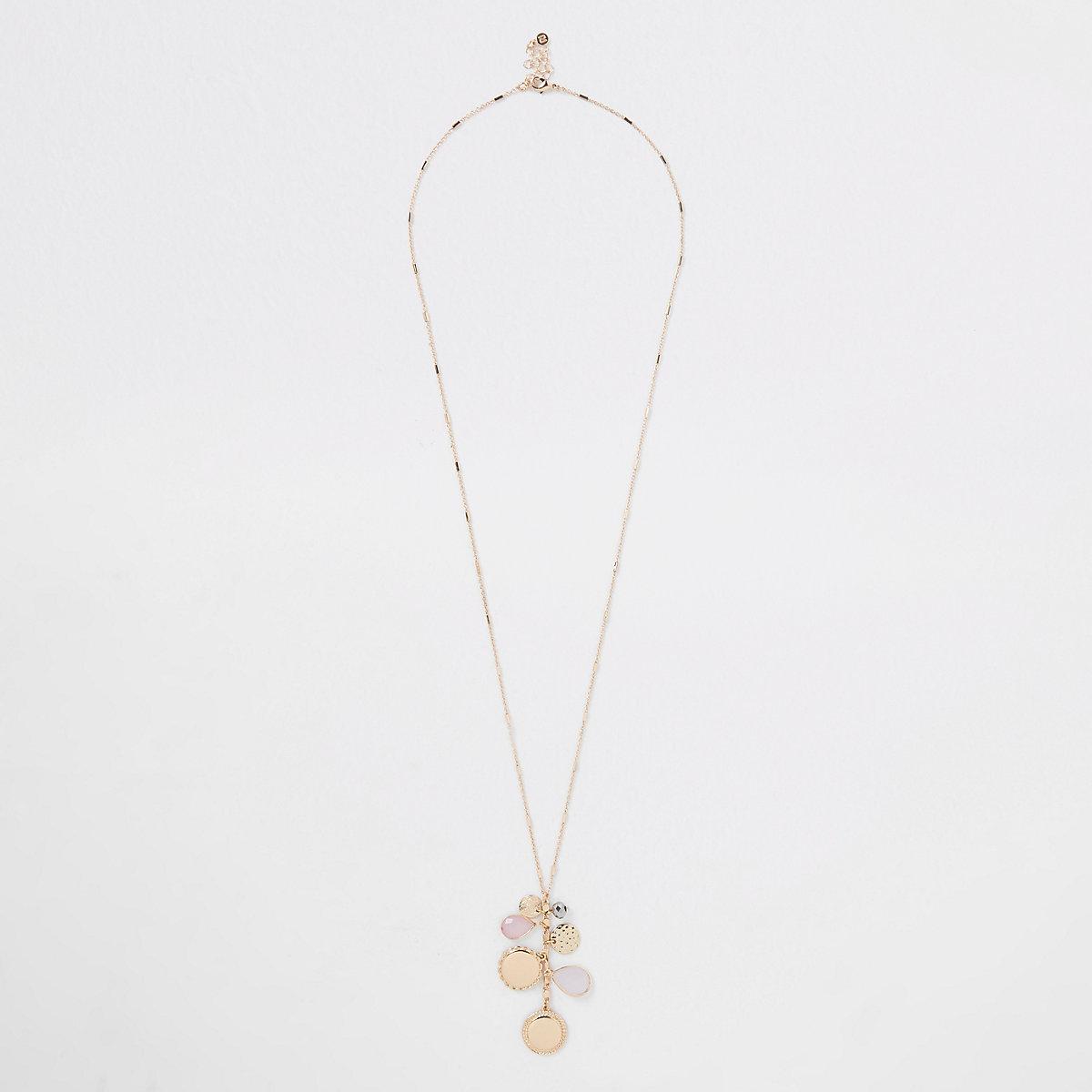 Rose gold cluster jewel pendant long necklace