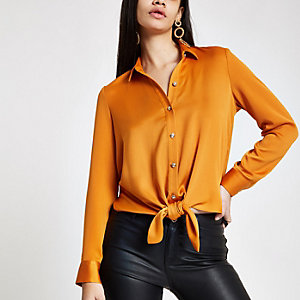 Orange tie front shirt