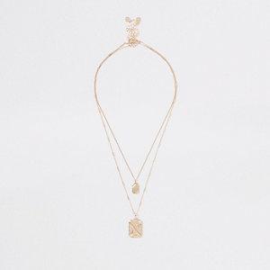 Goldene Halskette mit rechteckigem Anhänger, Set