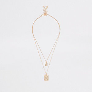 Gold color rectangle pendant necklace pack