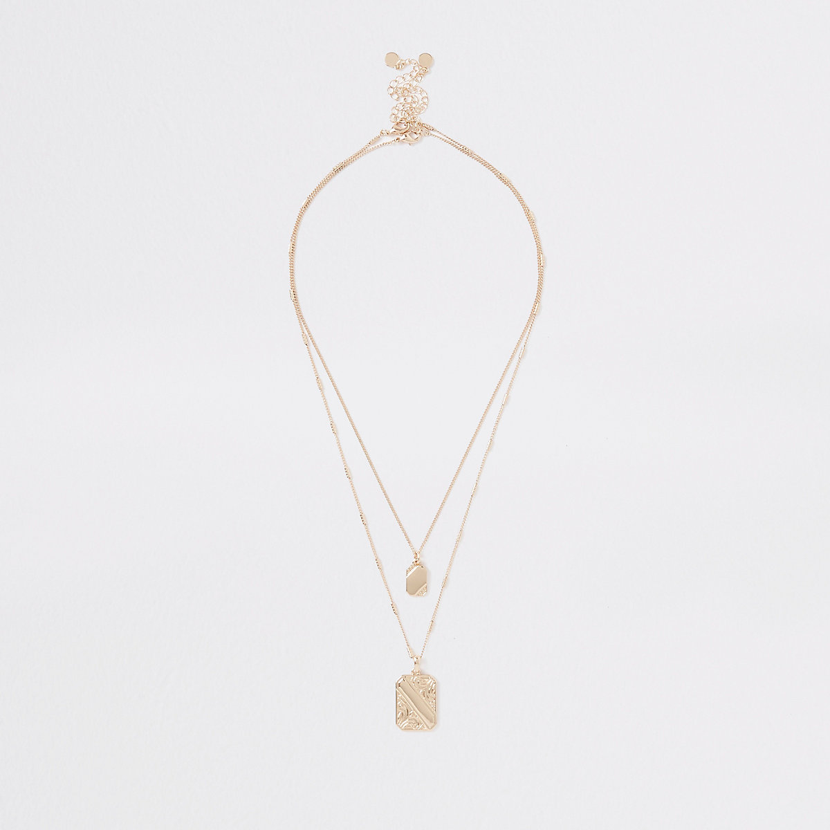 Gold colour rectangle pendant necklace pack