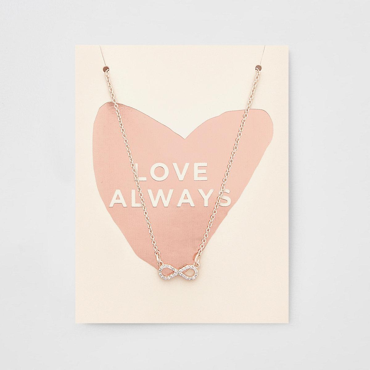 Rose gold colour diamante infinity necklace