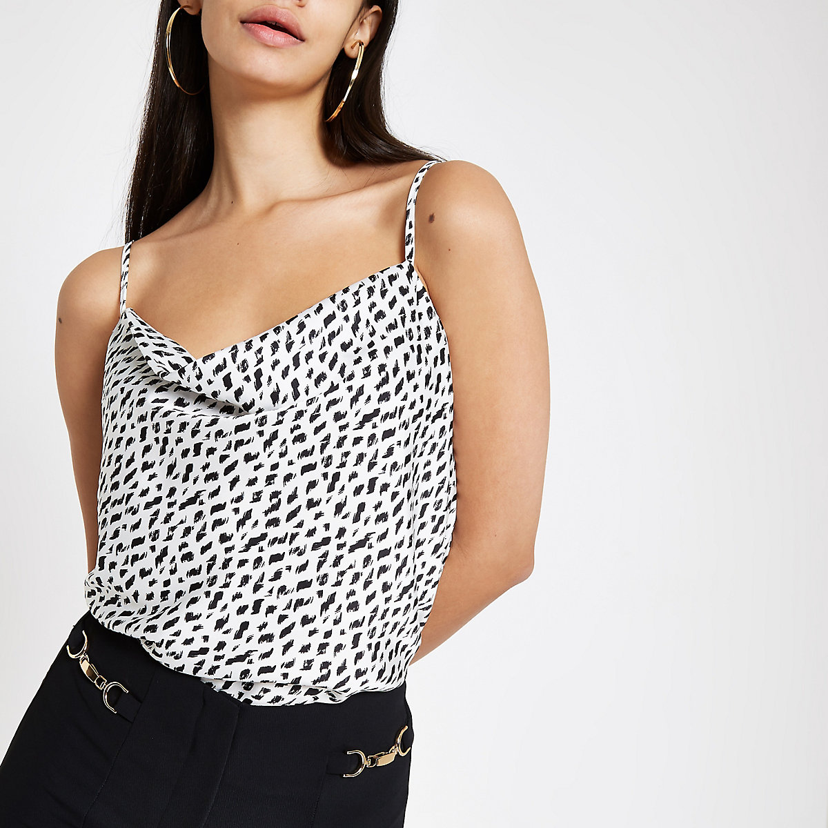 White spot print cowl neck cami top
