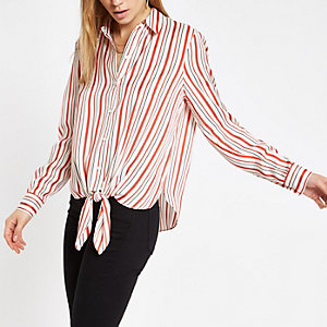 Red stripe print tie front shirt