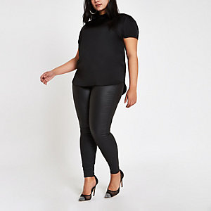 Plus black frill neck shell top