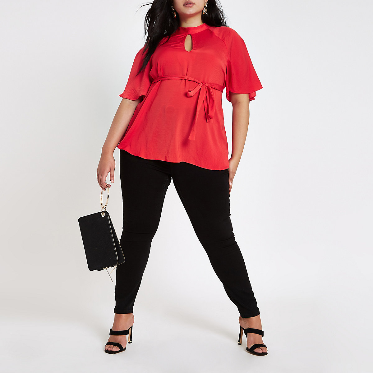 Plus red high neck tie waist top