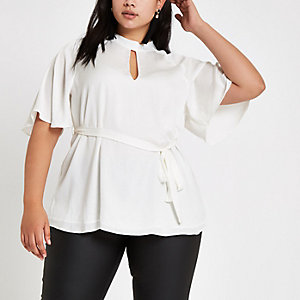 Plus cream high neck tie waist top
