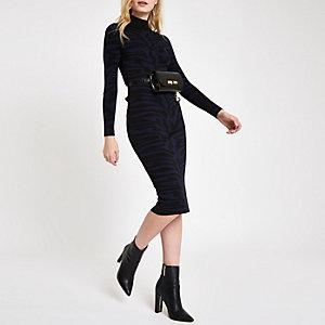 Mini robe moulante imprimé zèbre bleu marine à col montant
