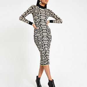 Brown snake print high neck fitted dress