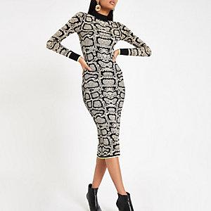 Bruine hoogsluitende strakke jurk met slangenleerprint