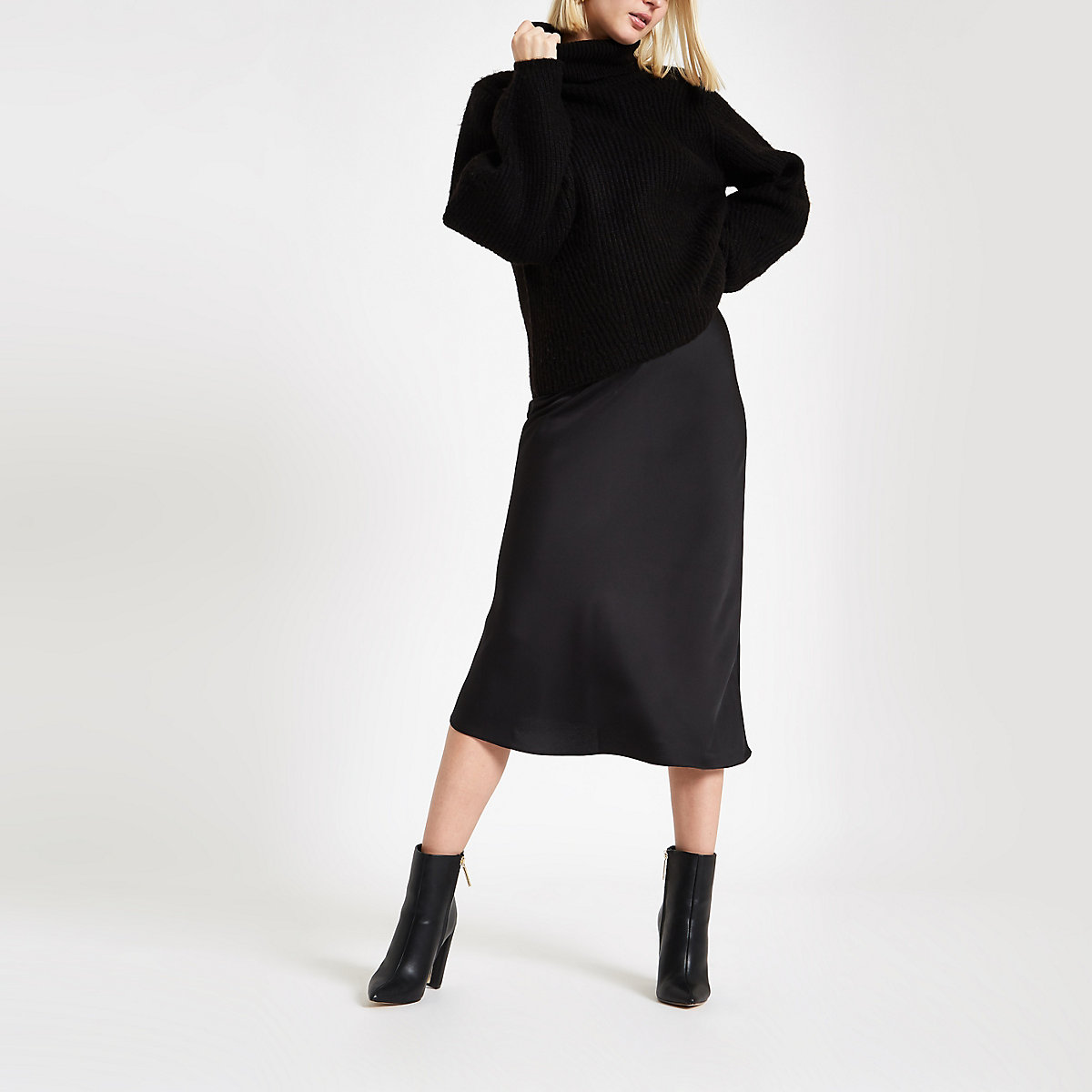 Black bias satin midi skirt