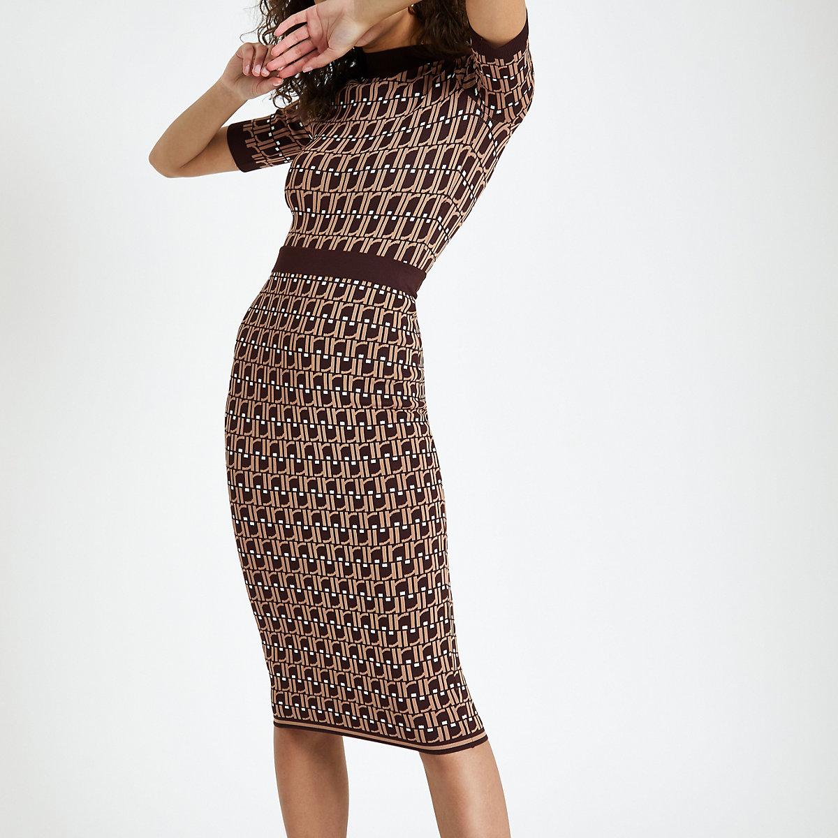 Brown RI monogram midi skirt