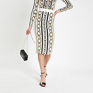 Cream chain print midi skirt