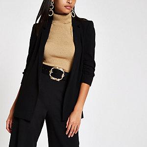 Black ruched button sleeve blazer