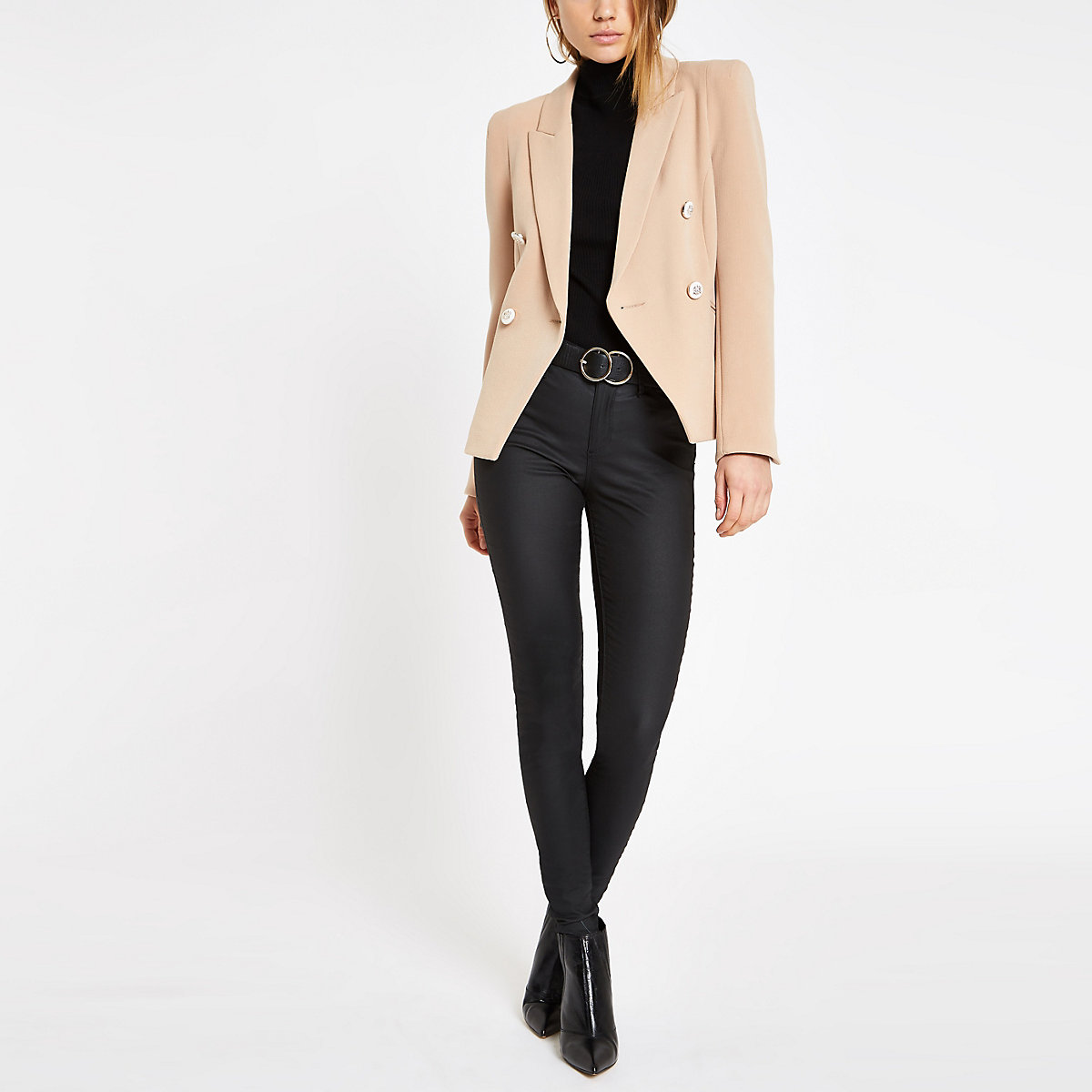 Light brown double breasted blazer