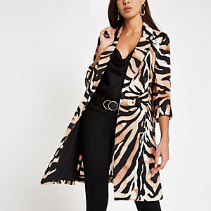 Brown tiger print longline blazer