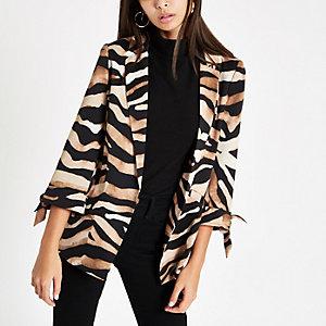 Brauner Blazer mit Zebra-Print