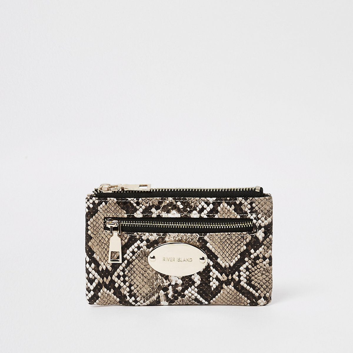 Beige snake print mini oval branding purse