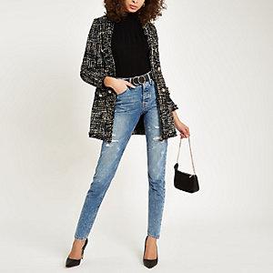 Black boucle longline jacket