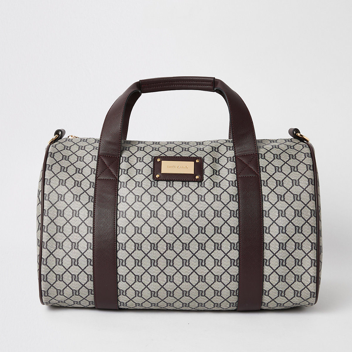 Brown RI monogram print weekend bag