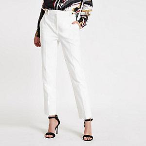 Pantalon cigarette blanc plissé