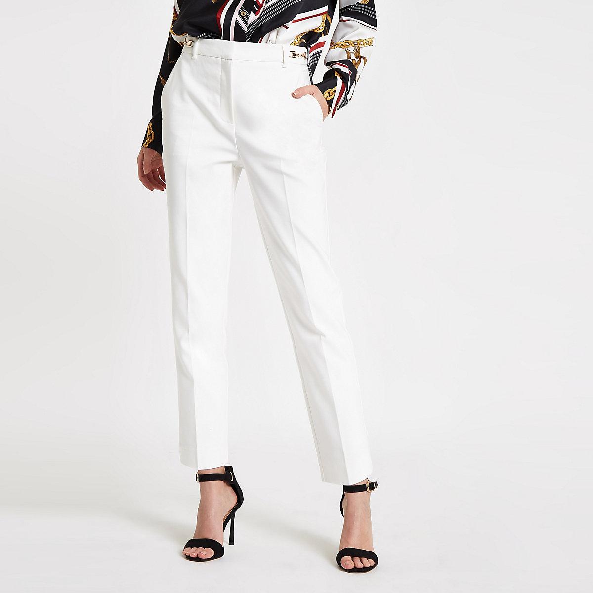 White snaffle cigarette pants