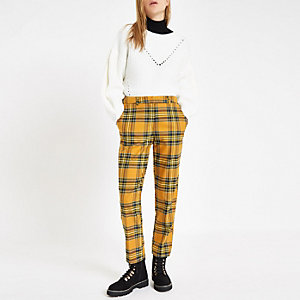 Yellow tartan check straight leg trousers