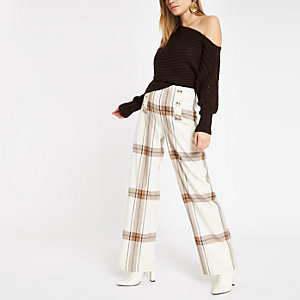 Cream check wide leg trousers
