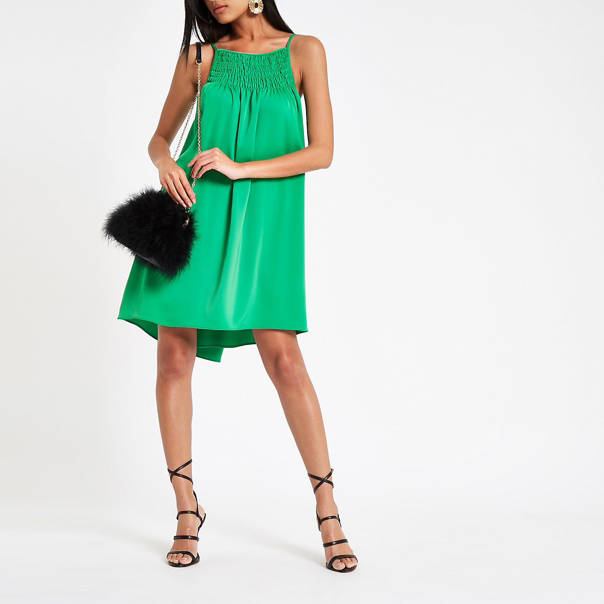 Green ruched cami slip dress