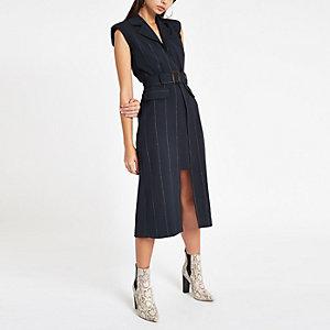 Marineblauwe gestreepte midi-jurk met ceintuur