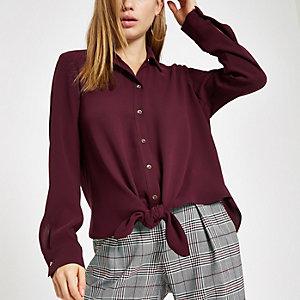 Bordeauxrood overhemd met strik voor en lange mouwen