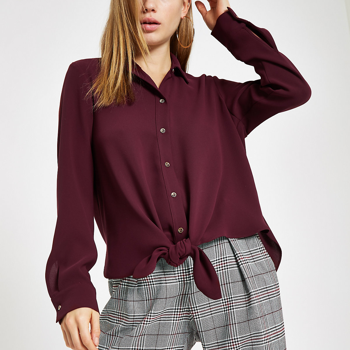 Burgundy tie front long sleeve shirt