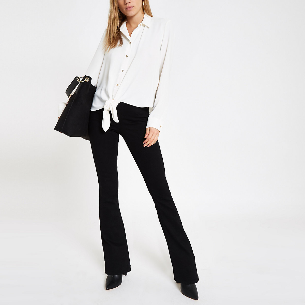 White tie front long sleeve shirt
