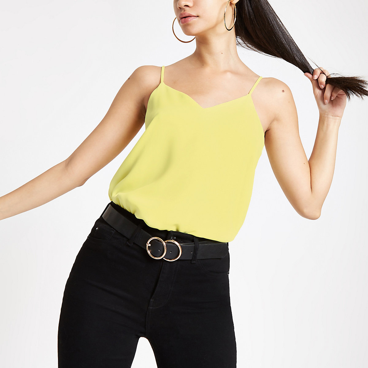 Yellow cross back cami top