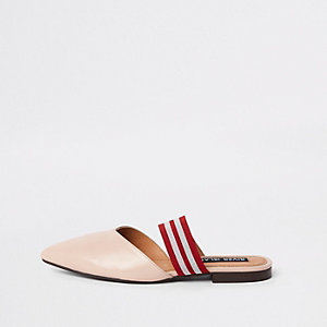 Light pink leather backless loafer