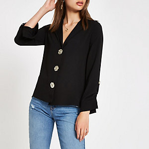 Black button front loose fit shirt