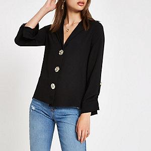 Chemise ample boutonnée noire