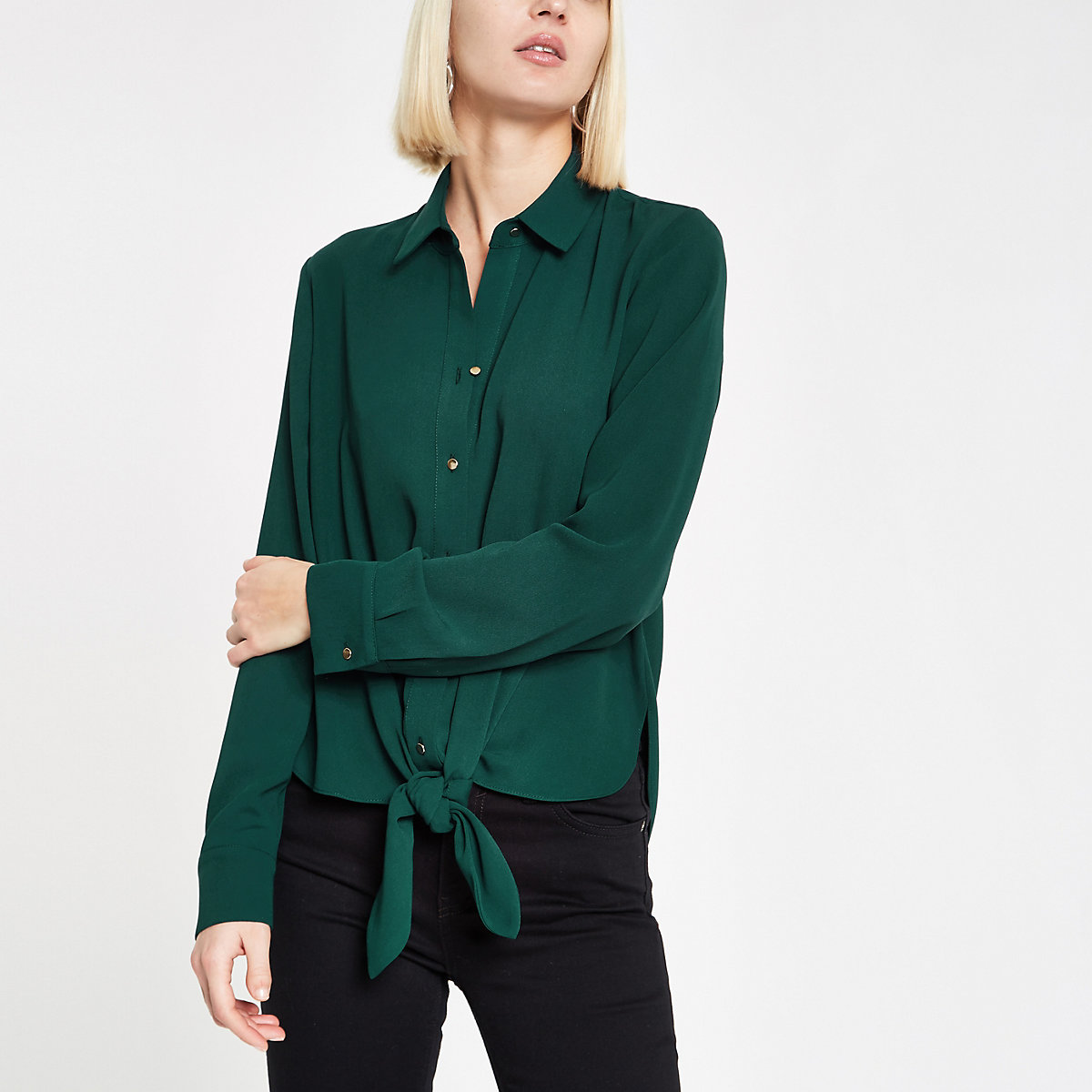 Dark green tie front shirt