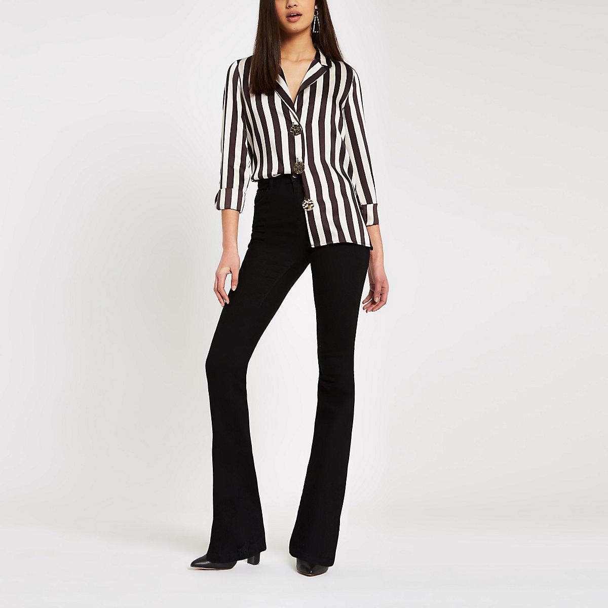 Brown stripe satin button front shirt