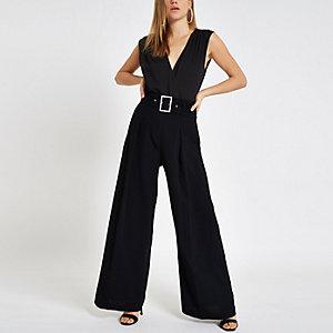 Black wrap front sleeveless bodysuit