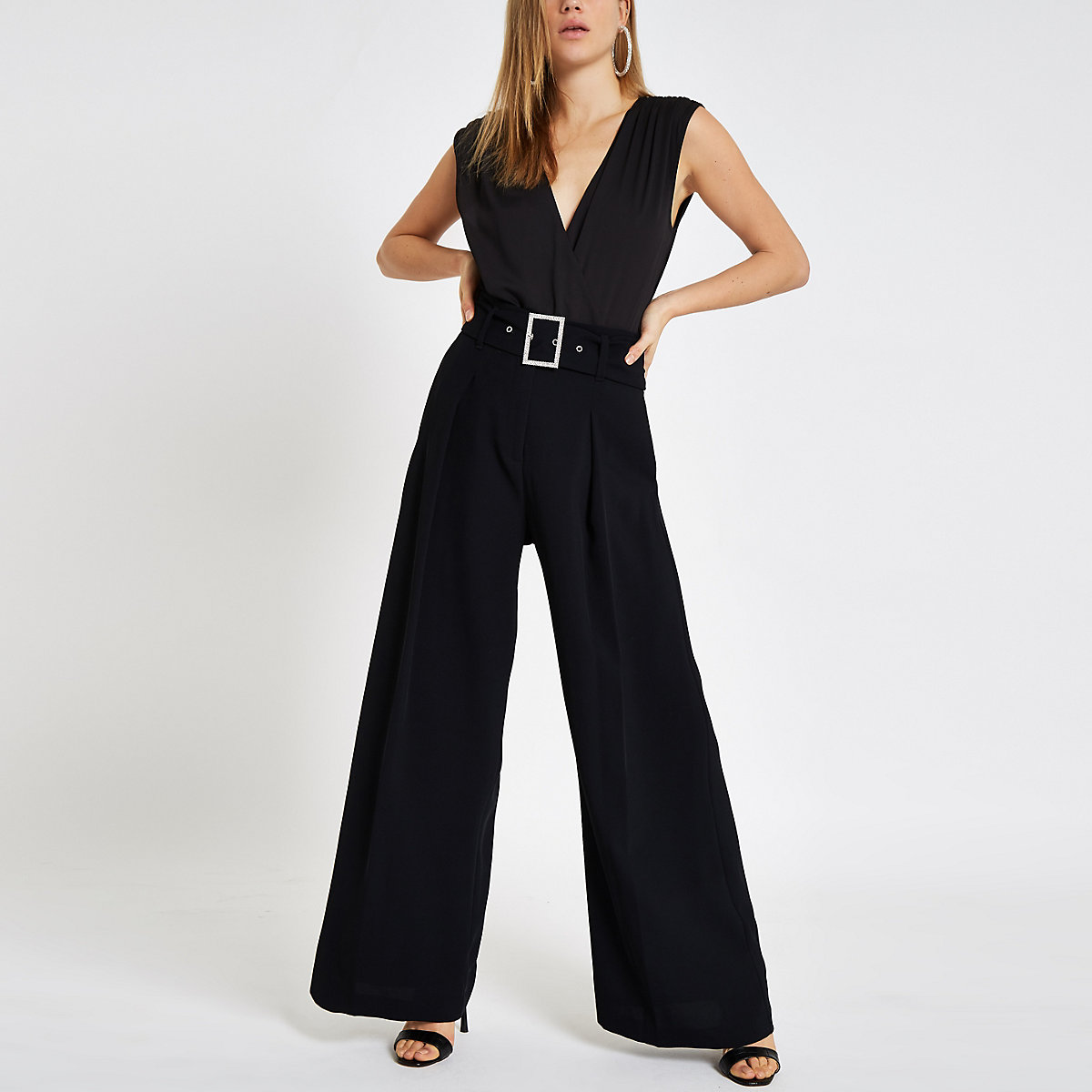 Black wrap front sleeveless bodysuit
