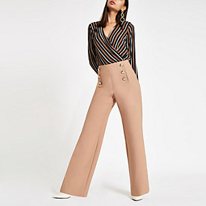 Brown stripe wrap front shoulder pad bodysuit