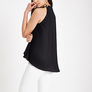 Black pleated tie halter neck top
