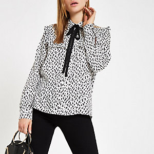 White spot print tie neck shirt